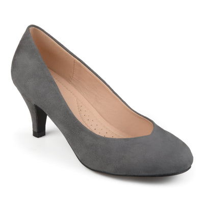 Brinley Co. Womens Round Toe Faux Suede Classic Comfort Heels