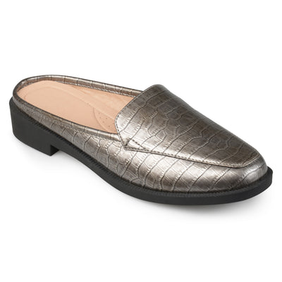 Brinley Co. Womens Jem Faux Patent Square Toe Comfort-sole Croc Pattern Slide Mules