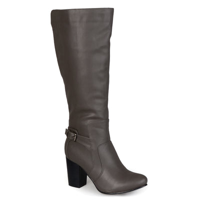 Brinley Co. Womens Regular and Wide-Calf High-Heeled Buckle Detail Boot