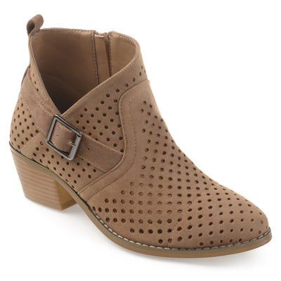 Brinley Co. Womens Joss Perforated Faux Suede Stacked Heel Asymmetrical Booties