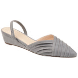 Brinley Co. Womens Pointed Toe Sling-back Sliver Wedge