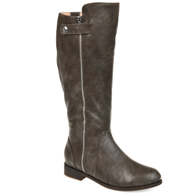 Comfort by Brinley Co. Womens Wide Calf Side Zipper Riding Boot