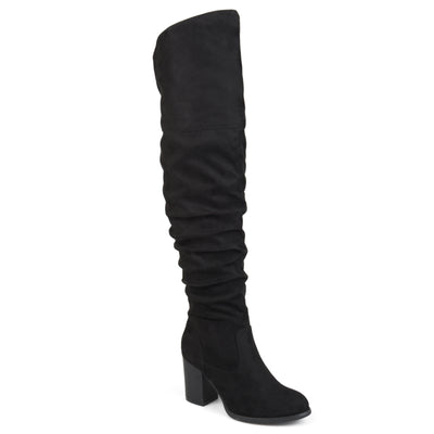 Brinley Co. Womens Extra Wide Calf Ruched Stacked Heel Faux Suede Over-the-knee Boots