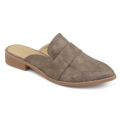 Brinley Co. Womens Faux Leather Slip-on Almond Toe Mules