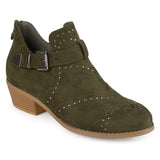 Brinley Co. Womens Faux Suede Decorative Ankle Strap Studded Booties