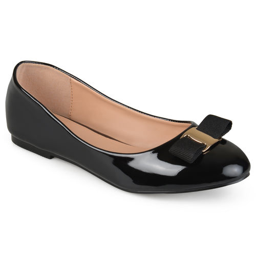 Brinley Co. Womens Round Toe Patent Flats