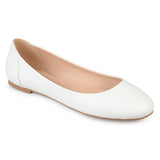 Brinley Co. Womens Comfort-sole Faux Leather Round Toe Flats