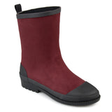 Brinley Co. Womens Keek Rubber Cap-toe Weatherproof Faux Suede Rainboots