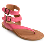 Double Wrap Buckle Thong Sandals
