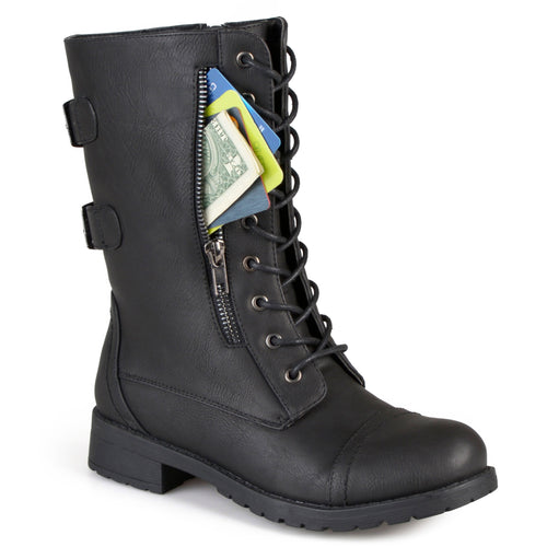 Brinley Co. Womens Buckle Pocket Lace-up Combat Boots