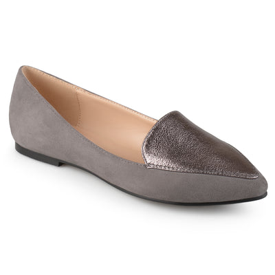 Brinley Co. Womens Pointed Toe Faux Suede Loafer Flats