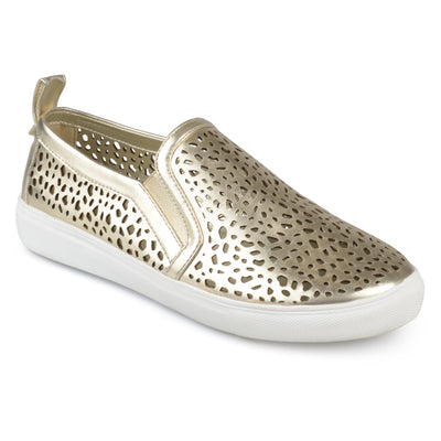 Brinley Co. Womens Faux Leather Pull-on Laser-cut Sneakers