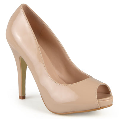 Brinley Co. Womens Peep-toe Patent Pumps