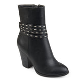 Brinley Co. Womens Faux Leather Strappy Chunky Stacked Heel Booties