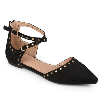 Brinley Co. Womens Double Ankle Strap Faux Suede Studded Flats
