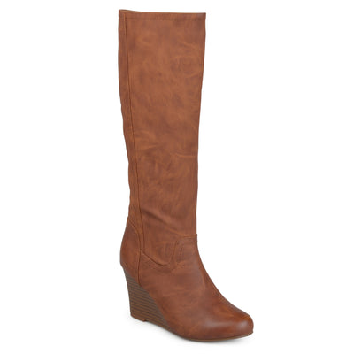 Brinley Co. Womens Wide Calf Round Toe Faux Leather Mid-calf Wedge Boots