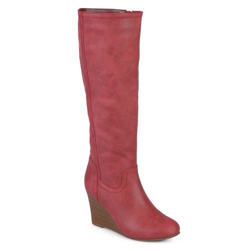Brinley Co. Womens Round Toe Faux Leather Mid-calf Wedge Boots