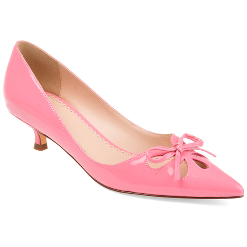 Brinley Co. Womens Cut-out Bow Kitten Heel Pump