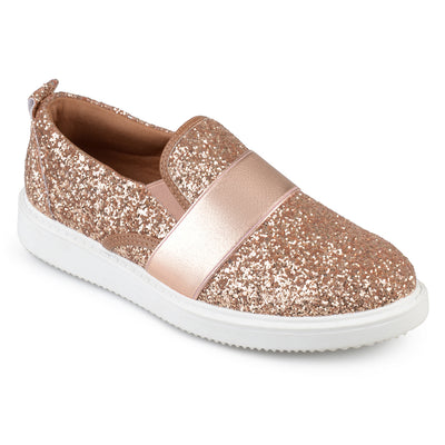 Brinley Co. Womens Glitter Ribbon Slip-on Sneakers