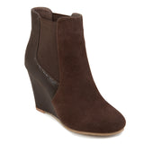 Brinley Co. Womens Round Toe Faux Suede Faux Snake Wedge Booties