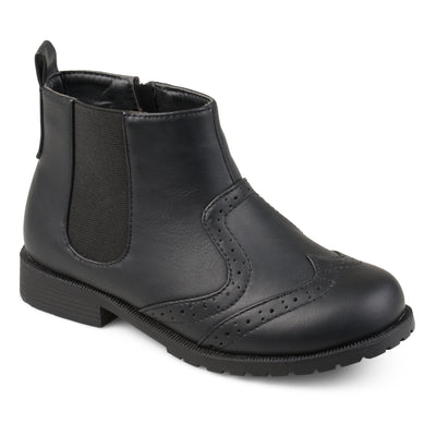 Brinley Kids Little Boy Wingtip Faux Leather Chelsea Boots