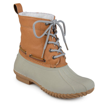Brinley Co. Kids Lace-up Faux Shearling Coordinating Laces Duck Boots