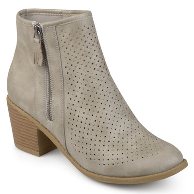Brinley Co. Womens Malak Faux Leather Faux Wood Stacked Heel Laser-cut Comfort-sole Booties