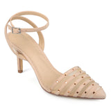 Brinley Co. Womens Faux Suede Rhinestone Pointed Toe Ankle-strap Heels