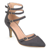 Brinley Co. Womens Pointed Toe Faux Suede Multi-strap High Heels