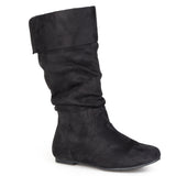 Brinley Co. Womens Wide Calf Microsuede Slouch Pull-on Boots