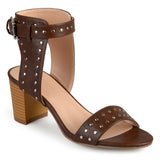 Brinley Co. Womens Faux Leather Studded Ankle Strap High Heels