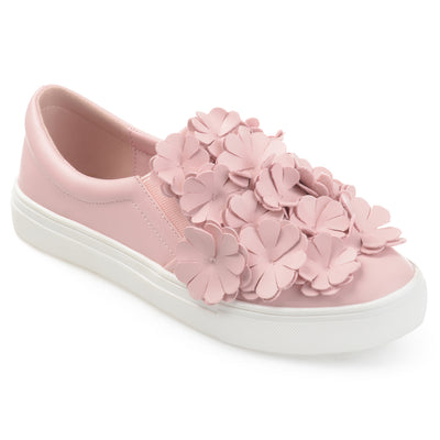 Brinley Co. Womens Melor Faux Leather Cascading 3D Flowers Slip-on Sneakers