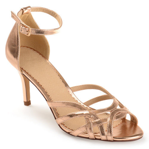 Brinley Co. Womens Merika Faux Leather Ankle Strap Metallic Heels