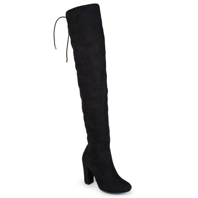 Brinley Co. Womens Over-the-knee High Heel Faux Suede Wide Calf Boots