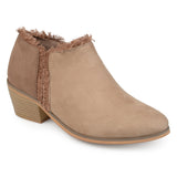 Brinley Co. Womens Faux Suede Fringe Ankle Booties