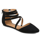 Brinley Co. Womens Faux Suede Wrap Strap Flats