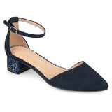Brinley Co. Womens Faux Suede Ankle Strap Pointed Toe Glitter Heels