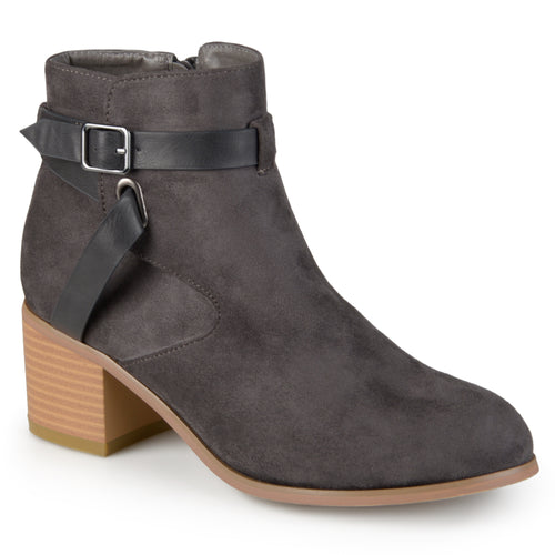 Brinley Co. Womens Two-tone Strappy Round Toe Booties