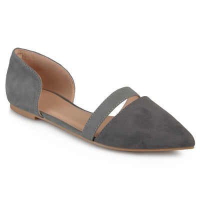 Brinley Co. Womens Pointed Toe Faux Suede Flats