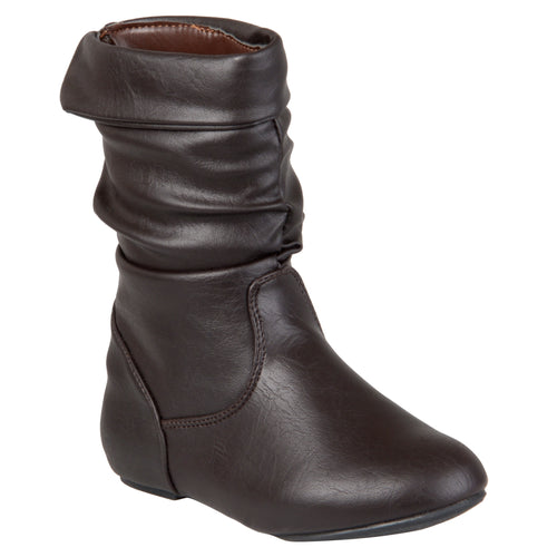 Brinley Co. Kids Girls Round Toe Slouch Boots