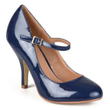 Brinley Co. Womens Patent Finish Round Toe Mary Jane Pumps