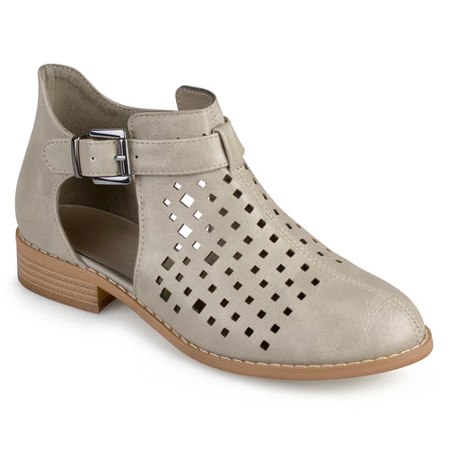 Brinley Co. Womens Laser Cut Faux Leather Booties