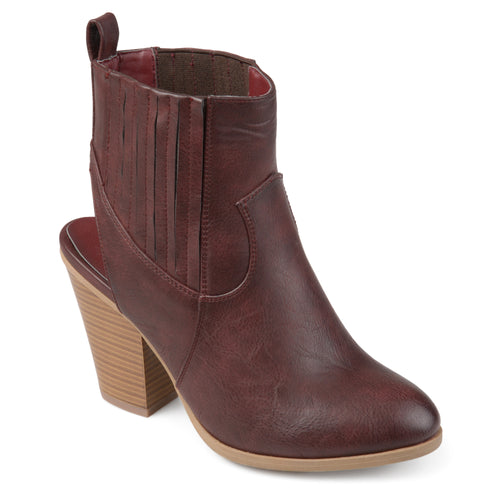 Brinley Co. Womens Nivia Faux Leather Stacked Wood Heel Slingback Western Almond Toe Booties