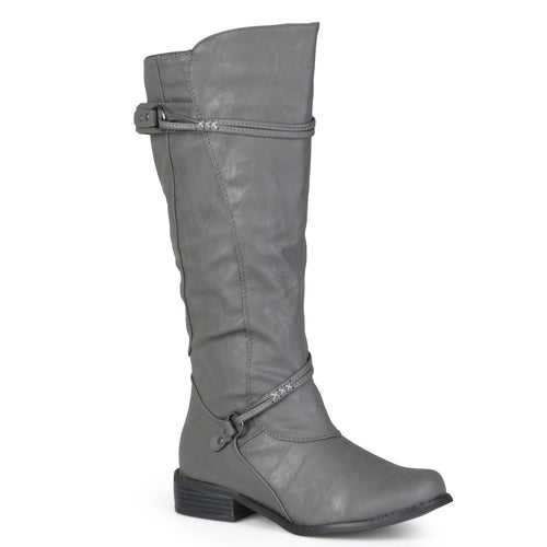 Brinley Co. Womens Extra Wide Calf Knee High Faux Leather Riding Boots