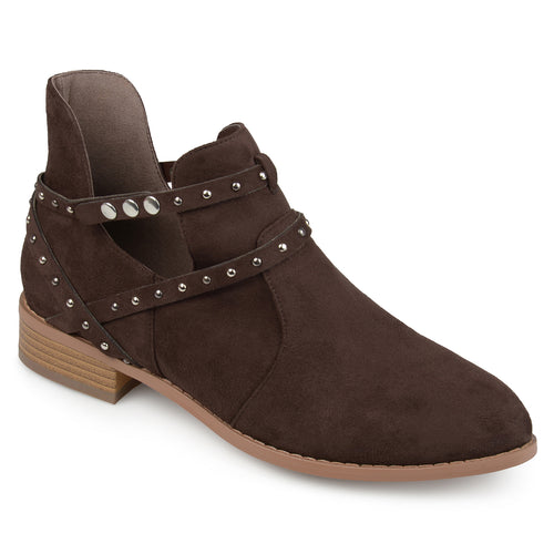 Brinley Co. Womens Olly Faux Suede Studded Wrap Strap Side Cut-out Pointed Toe Ankle Booties