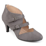 Brinley Co. Womens Onyx Faux Suede Comfort-sole Sweetheart Toe Dual Buckle Heels