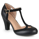 Brinley Co. Womens Cut Out Round Toe T-strap Two-tone Matte Mary Jane Pumps