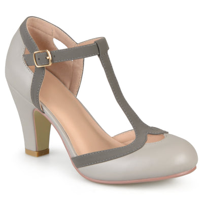 Brinley Co. Womens Wide Width Cut Out Round Toe T-strap Two-tone Matte Mary Jane Pumps