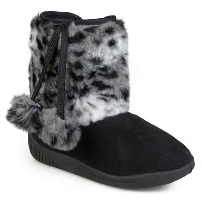 Brinley Kids Toddler Little Kids Faux Fur Pom Pom Boots