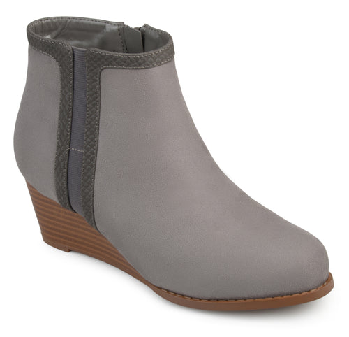 Brinley Co. Womens Palin Two-tone Faux Suede Wedge Booties